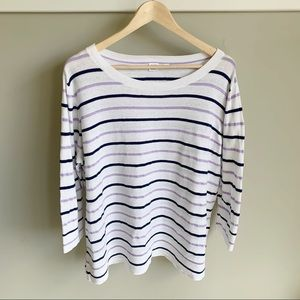GAP Lightweight White Lilac Navy Striped Sweater